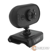 Цифровая камера CBR CW 836M Black, Веб-камера с матрицей 0,3 МП, разрешение видео 640х480, USB 2.0, встроенный микрофон, ручная фокусировка, крепление на мониторе, LED-подсветка, длина кабеля 1,6 м, цвет чёрный