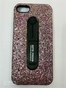 Силиконовый чехол Iphone 7/8 Auto Focus с хлястиком, насыщенные блестки, цветной