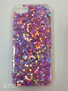 Силиконовый чехол Iphone 7/8 крупные блестки сиреневые