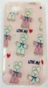 Силиконовый чехол с блестками iPhone 7/8, мишка Love Me