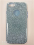 Силиконовый чехол Iphone 7 плотный с блестками, вырез для лого, голубой