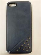 Задняя крышка Iphone 7 кожа с метал. бусинами, темно-синяя