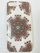 Чехол силиконовый FINITY для APPLE iPhone 7, белый, с коричневым узором
