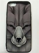 Задняя крышка Iphone 7/8, морда животного, волк контурный