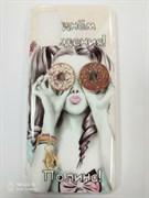 Накладка с принтом на жесткой основе , Samsung A51, девушка с пончиками