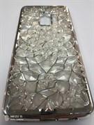 Силиконовый чехол Samsung G960F Galaxy S9 Битые кристаллы, окантовка со стразами, серебро