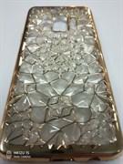 Силиконовый чехол Samsung G960F Galaxy S9 Битые кристаллы, окантовка со стразами, золотой