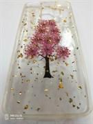 Задняя крышка Samsung G960F Galaxy S9 Флора с 3D блестками, сиреневое дерево