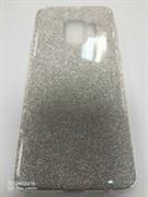 Силиконовый чехол Samsung G960F Galaxy S9 плотный с блестками, вырез для лого, серебро