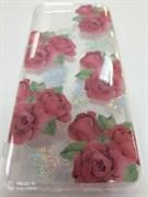 Накладка прозрачная с рисунком цветы и блестки, для Samsung A50/A30S, красные розы