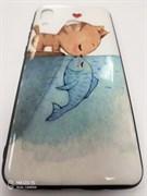 Чехол-книга Samsung Galaxy A50 пластик с принтом Котик и рыбка