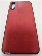 Силиконовый чехол Samsung   A50 кожа NITU с прострочкой, красный
