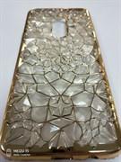 Силиконовый чехол Samsung G965F Galaxy S9 Plus Битые кристаллы, окантовка со стразами, серый