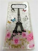 Силиконовый чехол Samsung G973F Galaxy S10 битое стекло, Париж с бабочками
