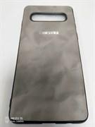 Силиконовый чехол Samsung S10 дымчатая эко-кожа с серебристым логотипом, серый