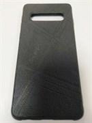 Силиконовый чехол Samsung S10 эко-кожа REMAX с полосками, черный
