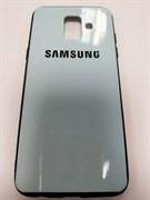 Задняя крышка Samsung A600 Galaxy A6 (2018) цветная с логотипом, голубая